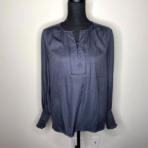 Ann Taylor LOFT Button Front Long Sleeve Blouse XS